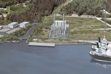 A rendering from the Woodfibre LNG Project (courtesy of Woodfdibre LNG)