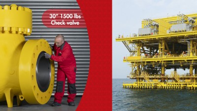 """A 20-ton 30"""" 1500 lbs check valve for Saudi Aramco's Marjan offshore field"""